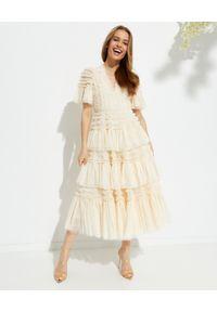 NEEDLE & THREAD - Sukienka midi Clarabelle. Typ kołnierza: kołnierz z falbankami. Kolor: beżowy. Materiał: tiul, materiał. Typ sukienki: rozkloszowane. Długość: midi