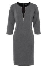 Sukienka z dżerseju bonprix szaro-czarny melanż. Kolor: szary. Materiał: jersey. Wzór: melanż