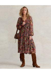 Ralph Lauren - RALPH LAUREN - Sukienka midi z nadrukiem w kwiaty. Typ kołnierza: polo. Kolor: brązowy. Długość rękawa: długi rękaw. Wzór: kwiaty, nadruk. Długość: midi