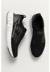 Czarne sneakersy EA7 Emporio Armani na niskim obcasie, na obcasie, na sznurówki