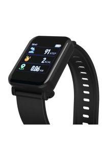 Czarny zegarek hama smartwatch, biznesowy