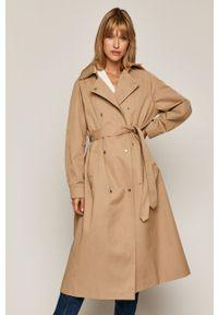 Beżowy płaszcz medicine na co dzień, raglanowy rękaw, z klasycznym kołnierzykiem, casualowy #6