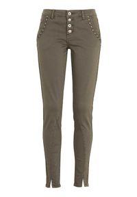Cream Spodnie Holly khaki female zielony 29. Kolor: zielony. Wzór: haft