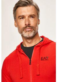 Czerwona bluza rozpinana EA7 Emporio Armani na co dzień, z kapturem, z aplikacjami