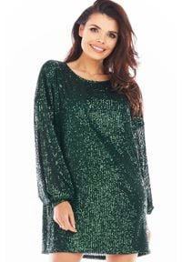 Awama - Luźna Mini Sukienka w Stylu Glamour - Zielona. Kolor: zielony. Materiał: poliester. Styl: glamour. Długość: mini