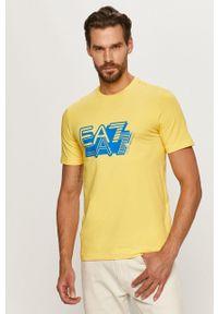 Żółty t-shirt EA7 Emporio Armani z aplikacjami, z okrągłym kołnierzem