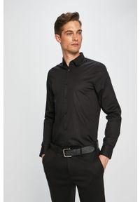 Czarna koszula Armani Exchange z klasycznym kołnierzykiem, klasyczna, długa
