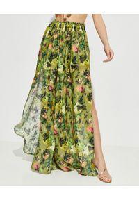 ANJUNA - Lniana spódnica maxi Adele. Stan: podwyższony. Kolor: zielony. Materiał: len. Wzór: kolorowy, aplikacja
