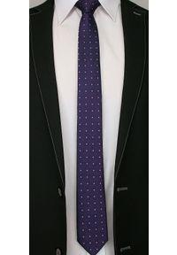 Alties - Fioletowy Elegancki Krawat Męski -ALTIES- 6 cm, w Niebiesko-Różowe Kropki. Kolor: niebieski, różowy, wielokolorowy. Materiał: tkanina. Wzór: grochy. Styl: elegancki