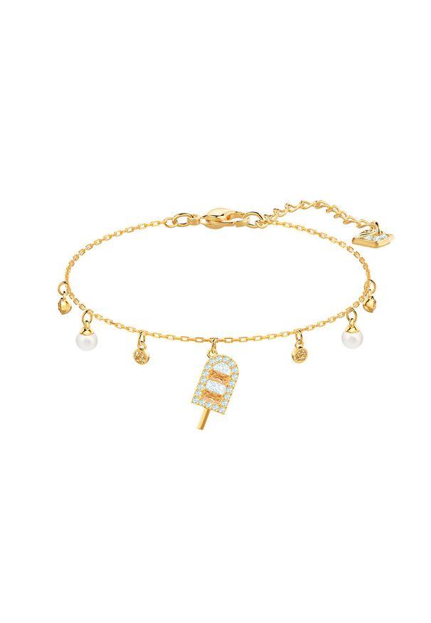Złota bransoletka Swarovski z kryształem, metalowa