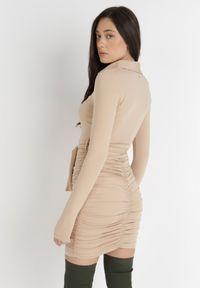 Born2be - Beżowa Sukienka Omphiera. Kolor: beżowy. Materiał: zamsz, materiał. Długość rękawa: długi rękaw. Typ sukienki: koszulowe. Długość: mini