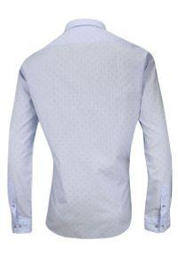 Niebieska elegancka koszula Rey Jay do pracy, z długim rękawem, długa