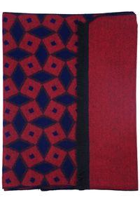 Modini - Czerwono-granatowy szalik męski w romby I47. Kolor: niebieski, czerwony, wielokolorowy. Materiał: wiskoza