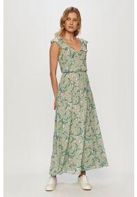 Vila - Sukienka. Kolor: zielony. Materiał: tkanina. Typ sukienki: rozkloszowane