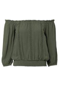 Bluzka z ażurowym haftem bonprix oliwkowy. Kolor: zielony. Wzór: haft, ażurowy