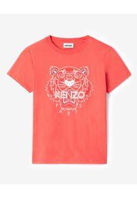 Kenzo - KENZO - Koszulka Tiger. Okazja: na co dzień. Kolor: czerwony. Materiał: bawełna. Wzór: nadruk, aplikacja. Sezon: wiosna. Styl: casual