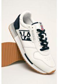Białe sneakersy Napapijri na sznurówki, z cholewką, z okrągłym noskiem