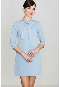 Katrus - Uniwersalna Niebieska Koszulowa Sukienka z Wiązaną pod Szyją Szarfą. Kolor: niebieski. Materiał: wiskoza, poliester. Typ sukienki: koszulowe