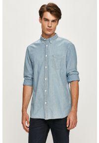 Niebieska koszula Wrangler button down, z długim rękawem, casualowa, długa