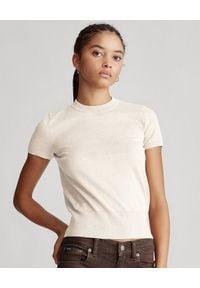 Ralph Lauren - RALPH LAUREN - Bawełniany sweter z krótkim rękawem. Okazja: na co dzień. Typ kołnierza: polo. Kolor: beżowy. Materiał: bawełna. Długość rękawa: krótki rękaw. Długość: krótkie. Styl: casual, elegancki