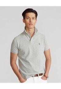 Ralph Lauren - RALPH LAUREN - Szara koszulka polo Custom Slim Fit Mesh. Typ kołnierza: polo. Kolor: szary. Materiał: mesh. Długość: długie. Wzór: haft, ze splotem