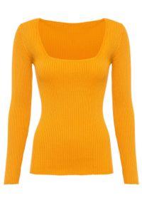 Pomarańczowy sweter bonprix z dekoltem karo, melanż