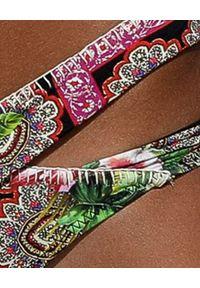 DEL MAAR - Dół od bikini Takiri. Kolor: zielony. Materiał: materiał. Wzór: kwiaty, paski