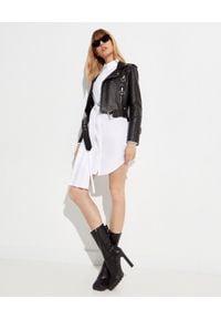 OFF-WHITE - Skórzana kurtka ze strzałami. Kolor: czarny. Materiał: skóra
