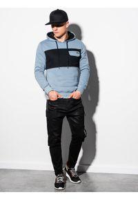Ombre Clothing - Bluza męska z kapturem B1072 - błękitna - XXL. Typ kołnierza: kaptur. Kolor: niebieski. Materiał: poliester, bawełna