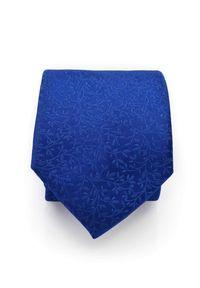 Adam Collection - Chabrowy krawat męski w delikatny florystyczny wzór D298. Kolor: niebieski. Materiał: tkanina, mikrofibra