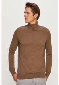 Brązowy sweter Selected z długim rękawem, z golfem, długi
