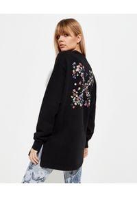 OFF-WHITE - Czarna bluza oversize Off-White. Kolor: czarny. Materiał: jeans, bawełna, prążkowany. Długość rękawa: długi rękaw. Długość: długie. Wzór: kolorowy, kwiaty. Styl: sportowy, elegancki
