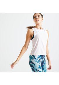 DOMYOS - Top fitness damski Domyos Color Block. Kolor: biały, różowy, wielokolorowy. Materiał: poliester, materiał, elastan. Sport: fitness