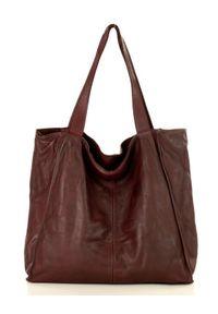 Marco Mazzini handmade - Bordowa Torebka Miejski Shopper Bag MARCO MAZZINI. Kolor: czerwony