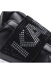 Czarne półbuty Karl Lagerfeld z aplikacjami, casualowe, na co dzień, z cholewką