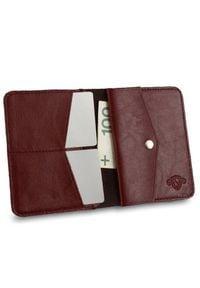 Solier - Cienki skórzany męski portfel z bilonówką SOLIER SW15 SLIM bordowy. Kolor: czerwony. Materiał: skóra