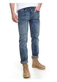 Niebieskie spodnie TOP SECRET sportowe, na jesień, na co dzień, w kolorowe wzory