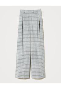 TwinSet - TWINSET - Szare szerokie spodnie w kratę. Stan: podwyższony. Kolor: szary. Długość: długie