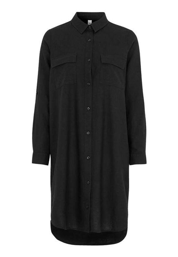 Soyaconcept Długa koszula lniana Ina Czarny female czarny S (38). Kolor: czarny. Materiał: len. Długość rękawa: długi rękaw. Długość: długie. Styl: elegancki