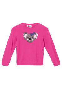 Różowy sweter bonprix z aplikacjami
