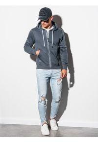 Ombre Clothing - Bluza męska rozpinana z kapturem B977 - szara - XXL. Typ kołnierza: kaptur. Kolor: szary. Materiał: poliester, bawełna. Styl: klasyczny #2