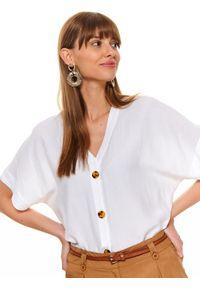 Biała bluzka TOP SECRET krótka, na lato, z krótkim rękawem