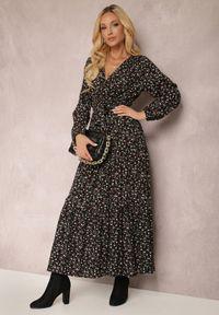 Renee - Czarna Sukienka Appoloin. Kolor: czarny. Materiał: materiał. Długość rękawa: długi rękaw. Wzór: kwiaty, aplikacja, kolorowy. Typ sukienki: kopertowe. Długość: maxi #5