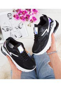 Czarne buty sportowe FOREVERFOLIE w kolorowe wzory, na co dzień