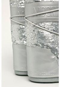 Srebrne śniegowce Moon Boot na sznurówki, z okrągłym noskiem