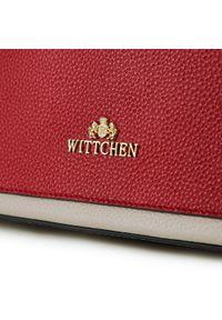 Wittchen - Kuferek skórzany z kolorową kieszenią. Kolor: beżowy, czerwony, wielokolorowy. Wzór: kolorowy. Materiał: skórzane. Styl: elegancki. Rodzaj torebki: do ręki