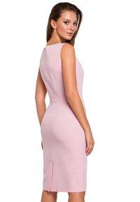 Makover - Klasyczna elegancka sukienka midi z dekoltem V. Okazja: na randkę, do pracy, na imprezę. Długość rękawa: bez rękawów. Styl: elegancki, klasyczny. Długość: midi