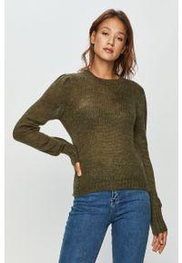 Zielony sweter Jacqueline de Yong z długim rękawem, długi, casualowy, z okrągłym kołnierzem