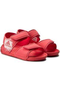 Czerwone sandały Adidas na lato, na rzepy, w paski