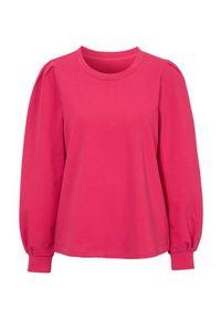 Cellbes Bluza z bufiastymi rękawami czerwonoróżowy female czerwony/różowy 34/36. Kolor: wielokolorowy, czerwony, różowy. Materiał: dresówka, dzianina